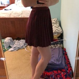maroon pleated mini skirt